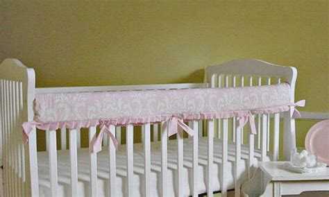 bumperless crib bedding teething guard rail cover pink