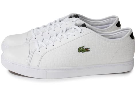 Chaussures Lacoste by Lacoste Showcourt Croc Cuir Blanc Chaussures Homme Chausport