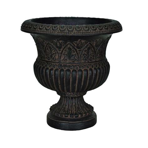 mpg 17 1 4 in x 18 in cast stone faux iron urn in aged