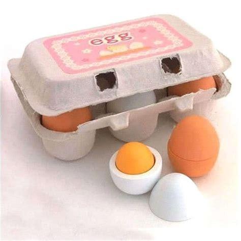 Kitchen Play Food by 6pcs Set Wooden Eggs Yolk Pretend Play Kitchen Food