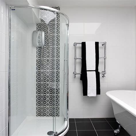 black and white bathroom bathroom design housetohome co uk shower room with chic monochrome tiles shower room ideas