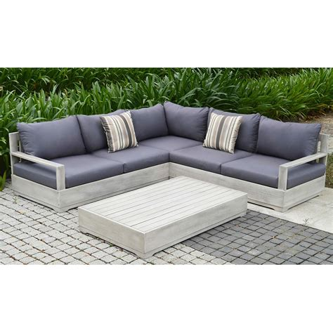 beranda 3 piece eucalyptus wood outdoor sectional set with