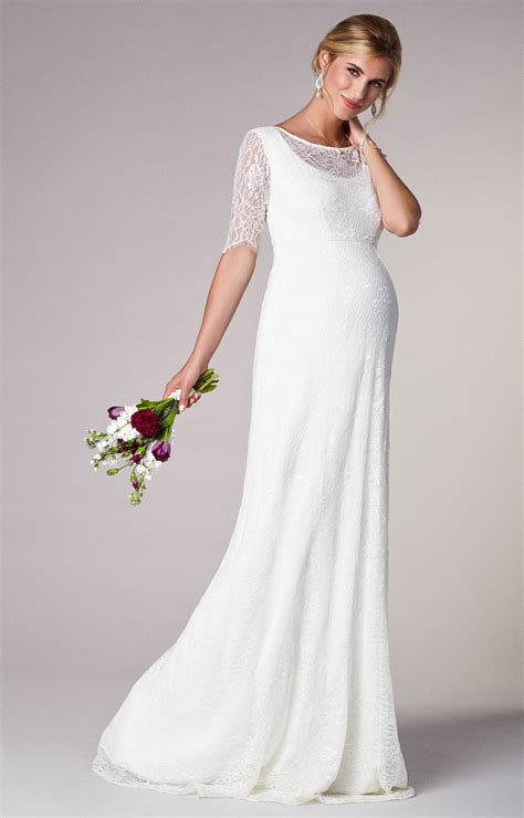 Wedding Dress Clothing by Evie Lace Maternity Wedding Gown Ivory Maternity