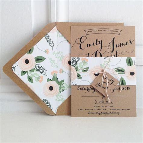 bakers twine wedding invitations kraft wedding invitation suite kraft lined envelopes bakers twine floral wedding invitations