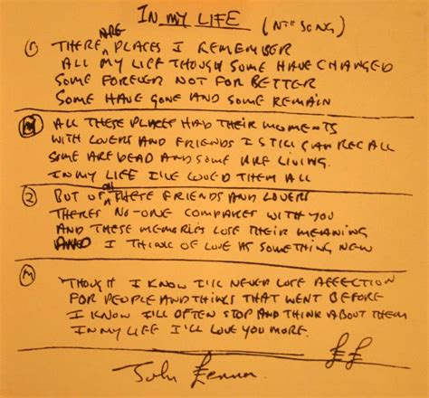 my lyrics original lennon s handwritten lyrics for in my the
