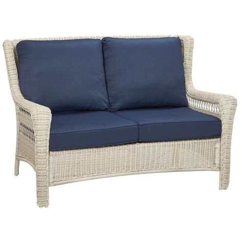 white resin wicker loveseat hton bay park meadows off white wicker outdoor loveseat