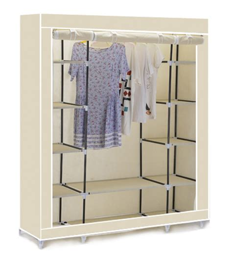 canvas clothes wardrobe cupboard hanging rail with
