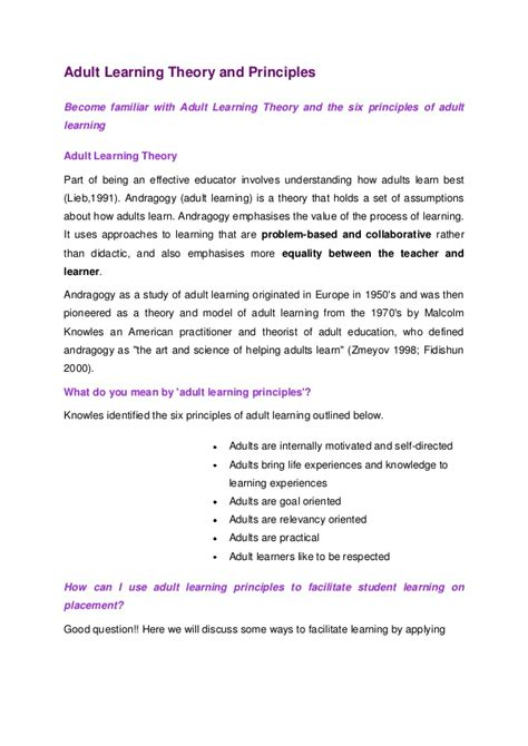 Andragogy Learning Theory Mba by Andragogy How Adults Learn