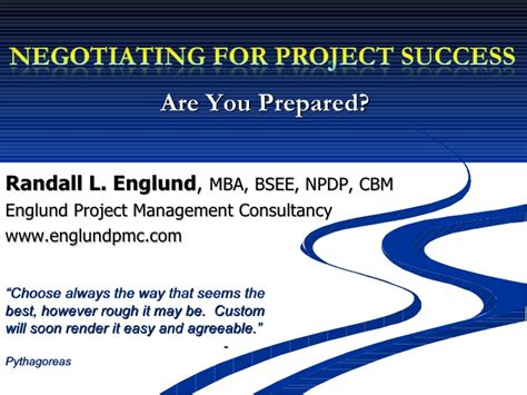 Cbm Mba by Negotiating For Project Success
