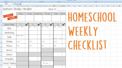 homeschool checklist template homeschool weekly checklist