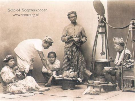 Lukisan Retro Jadul Unik Coffe Makes semarang in the days soto of soepverkooper gallery indonesia tempo doeloe