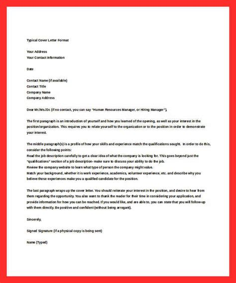 typical cover letter resume format