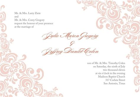 wedding invite templates free free printable wedding invitation templates