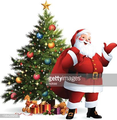 img of santa claus and x mas tree santa claus tree vector getty images