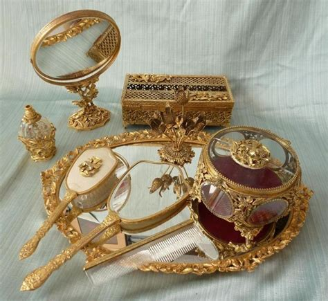vintage dresser vanity set vtg matson dogwood bird gold plated gilt ormolu 9 pc