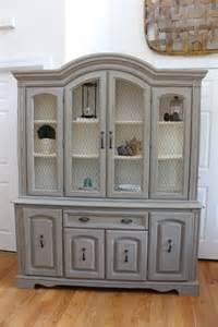 vintage china cabinet hutch amp buffet with chicken wire