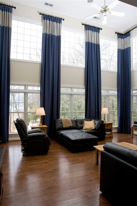 Two Story Curtains Two Story Window Treatments Living Room Traditional With Banded Banding Curtains Drapery