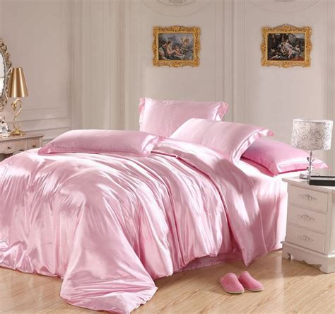 pink bed light pink bedding sets silk sheets satin california king size quilt