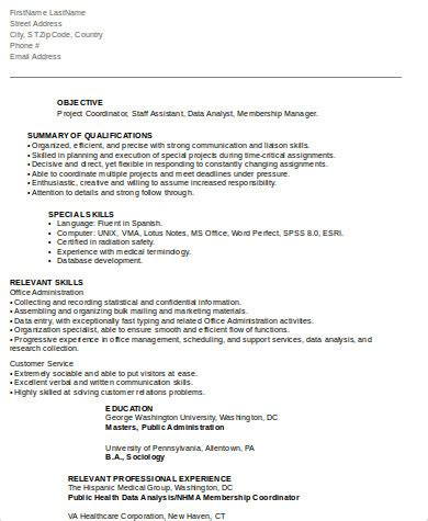 Project Coordinator Resume by 8 Sle Project Coordinator Resumes Sle Templates