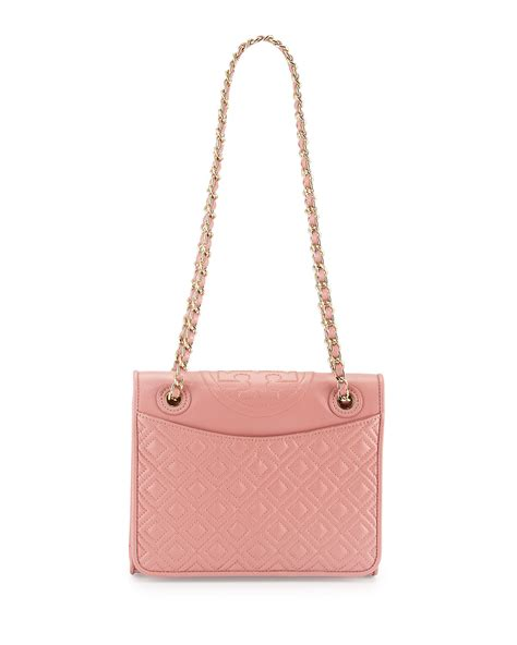 Burch Fleming Medium Quiled burch fleming medium quilted leather shoulder bag in pink lyst