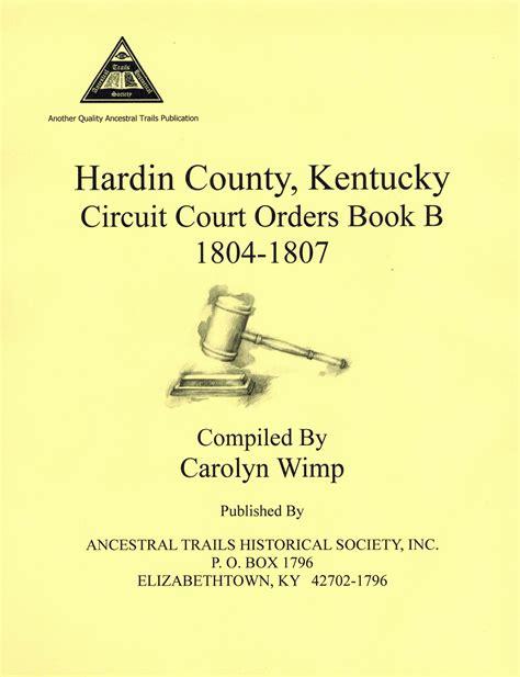 Hardin County Ky Court Records Hardin Co Ky Circuit Court Order Book B Ancestral