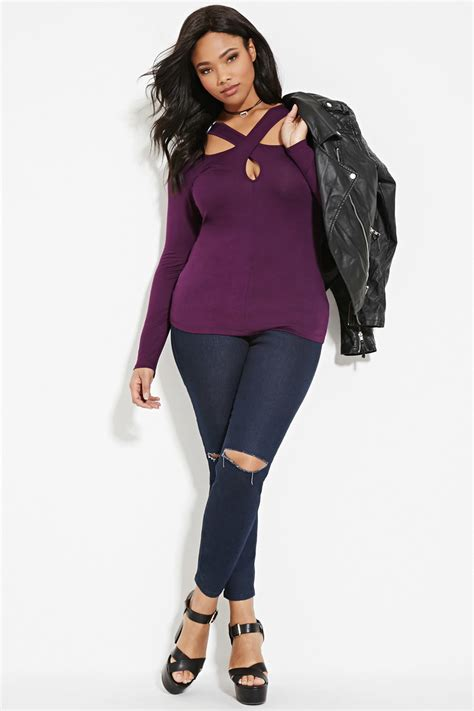 Forever 21 Top Size S 9 lyst forever 21 plus size cutout front top in purple