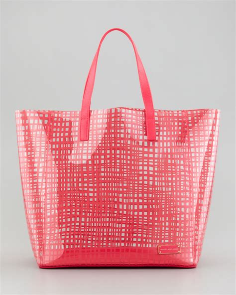 Pvc Tote Bag marc by marc checkmate pvc tote bag in pink blue