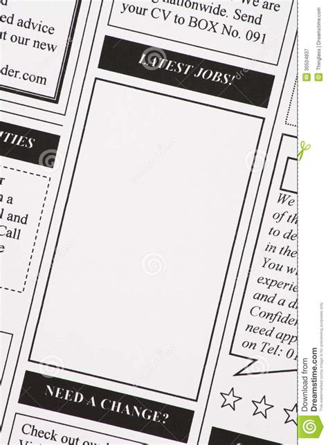 newspaper job section latest jobs newspaper clipping royalty free stock