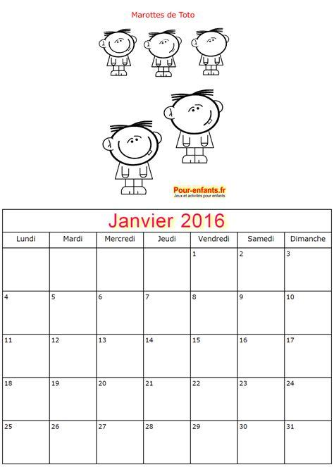 Calendrier 6 Janvier Pour Enfants 2017 Calendriers Janvier 2016 224 Imprimer 20
