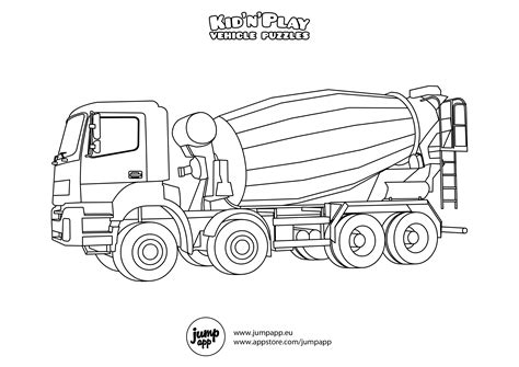 concrete coloring noisy cement mixer truck coloring pages picolour
