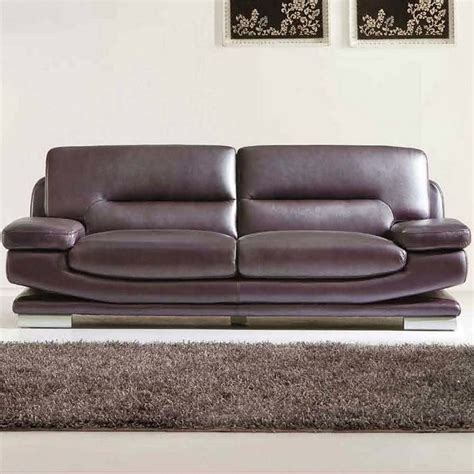 purple leather couch esf style leather sofa in dark purple and brown 27573brown