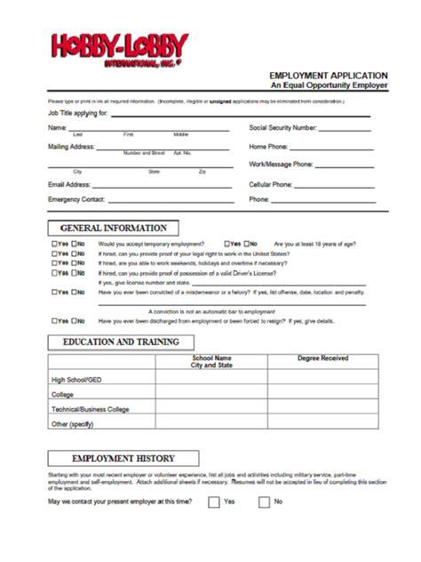 Printable Job Application Hobby Lobby | hobby lobby job application form free job application form