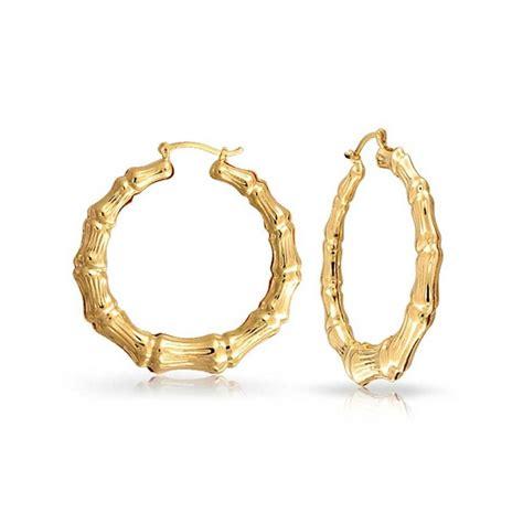 bamboo 14k gold filled hoop earrings