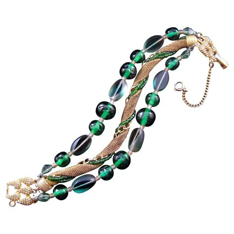 cable bead schiaparelli green bead and wire mesh three strand