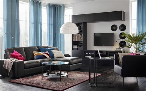 ikea living rooms modernize with clean lines and leather ikea