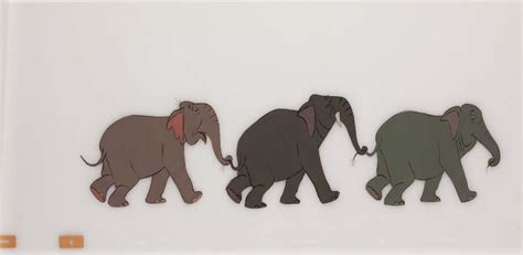libro the dawn patrol original production cel of elephants from the jungle book