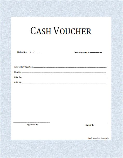 cash voucher template word templates