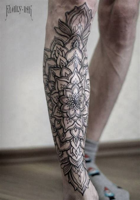 mandala leg tattoo mandala on the right shin shin tattoos