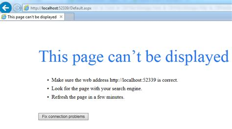 asp net this page cannot be displayed error when calling a stored procedure stack overflow
