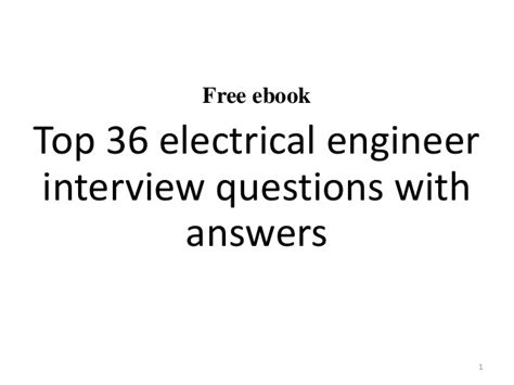 top 10 electrical engineer questions and answers
