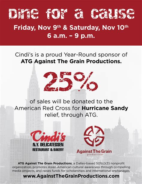 Dine For A Cause Cindi S Ny Delicatessen Restaurant Bakery Against The Grain Productions Dine And Donate Flyer Template