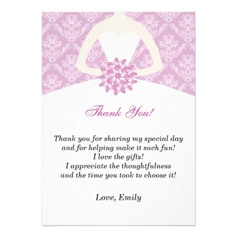 Thank You Bridal Shower Cards by Lilac Damask Bridal Shower Flat Thank You Card Zazzle