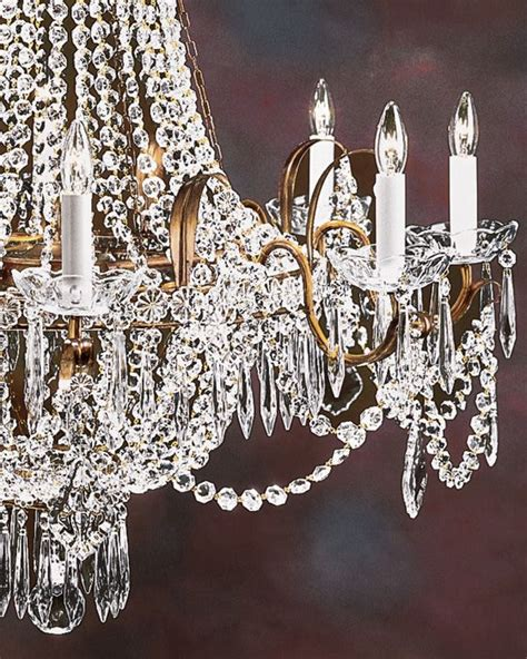 Wrought Iron And Crystal Chandeliers Eight Lights Empire Crystal Chandelier On An Antiqued