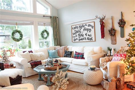 holiday home tour living room decor and the dog lake cottage christmas decorating in our living and dining