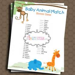 Baby animal match baby shower game printable by thepartystork baby