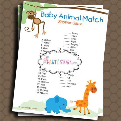 Baby Animals Theme For Baby Shower by Baby Animal Match Shower Safari Theme Printable