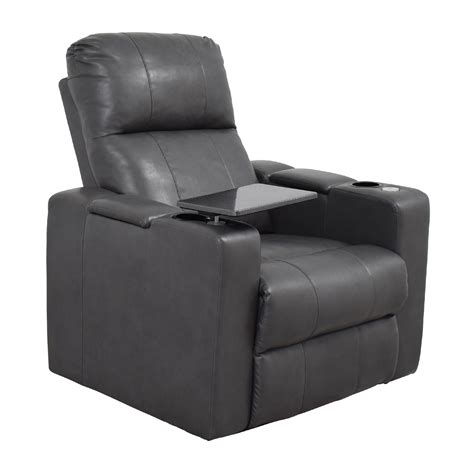 grey recliner 90 off grey leather recliner with storage and usb port