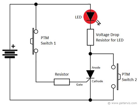 circuit diagram of a torch thyristor led torch light circuit