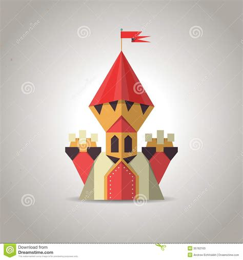 Castle Origami - origami castle from folded paper icon stock vector