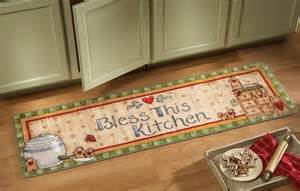 Kitchen Floor Runner Gingerbread Cookies Bless This Kitchen Runner Floor Rug Mat Decor New Ebay